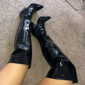 Black thigh high faux leather boots
